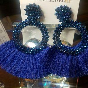 BEAUTIFUL Blue Tassel Earrings